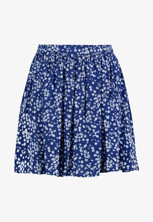 GATHERED MINI SKIRT - Jupe trapèze - blue