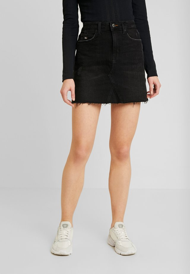 SHORT SKIRT - Mini skirt - black denim
