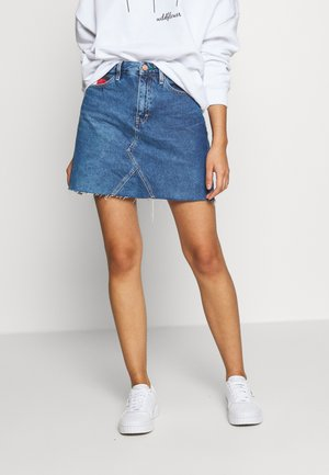 SHORT SKIRT - Spódnica trapezowa - blue denim
