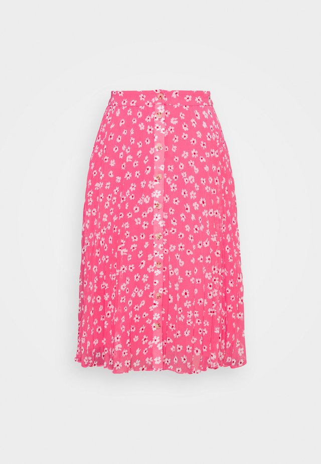 PLEATED BUTTON THRU SKIRT - A-snit nederdel/ A-formede nederdele - glamour pink