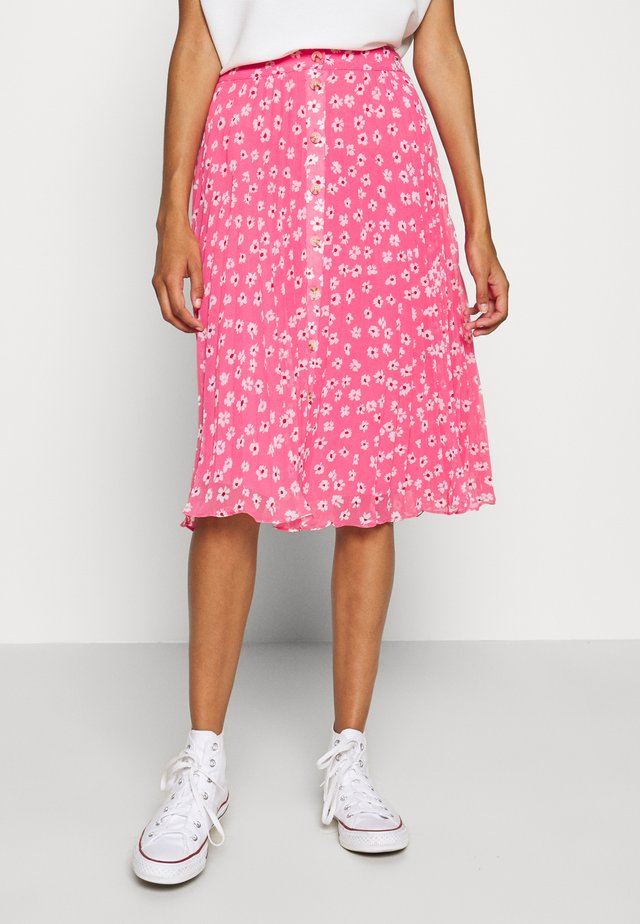 PLEATED BUTTON THRU SKIRT - A-line skirt - glamour pink