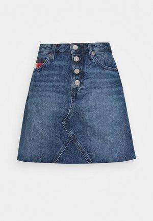 SHORT SKIRT FLY - Gonna di jeans - mid blue rigid