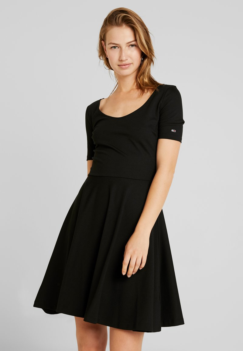 Tommy Jeans - ESSENTIAL FITFLARE DRESS - Jersey dress - black