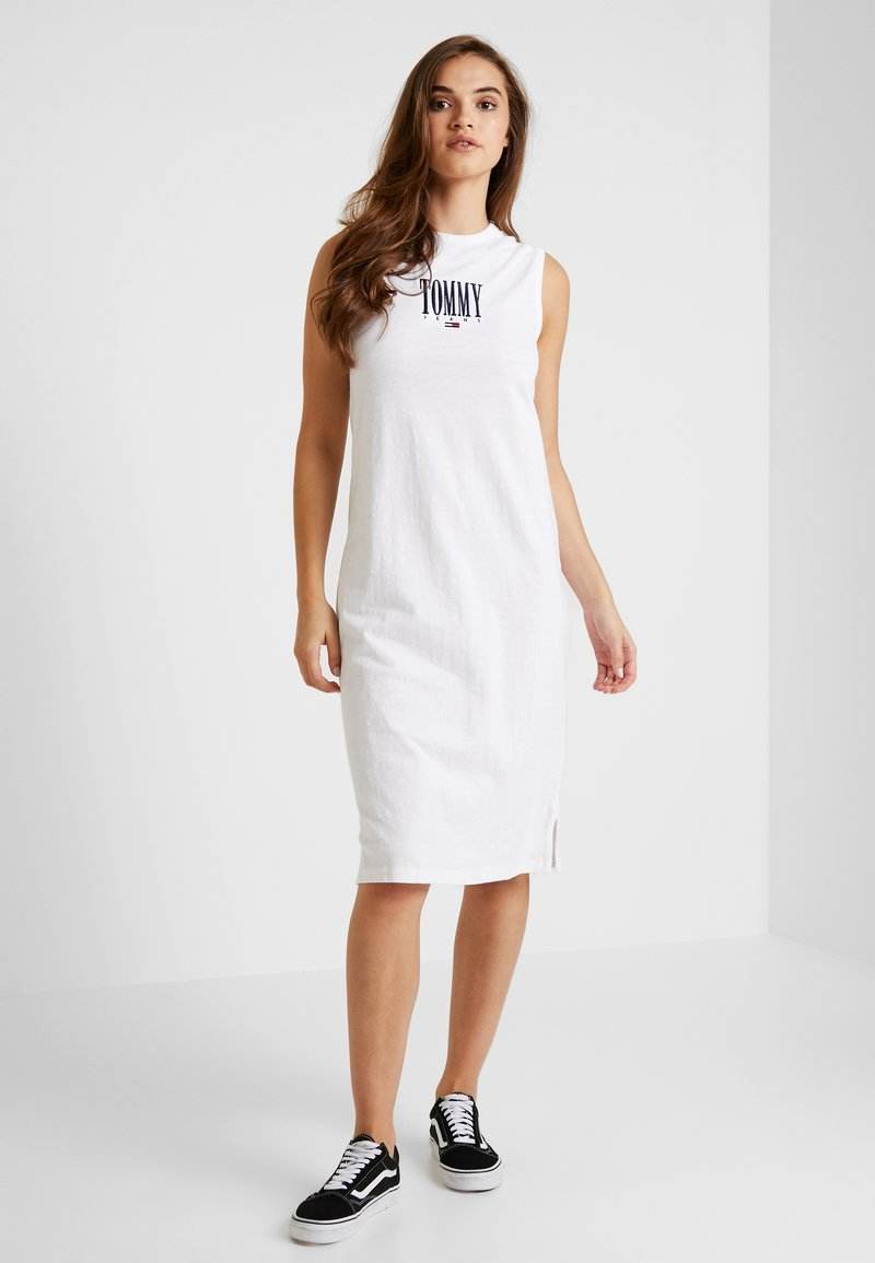 Tommy Jeans - EMBROIDERY TANK DRESS - Jersey dress - classic white