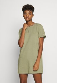 Tommy Jeans - BRANDED NECK TEE DRESS - Vestido informal - olive tree - 0