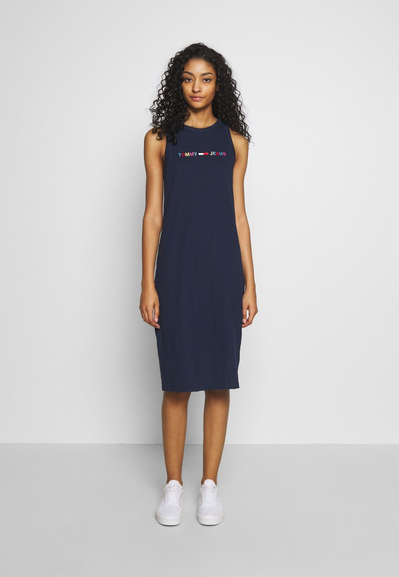 Tommy Jeans - TJW LOGO TANK DRESS - Day dress - twilight navy