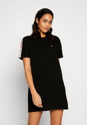TAPE DETAIL SHORTS DRESS - Žerzejové šaty - black
