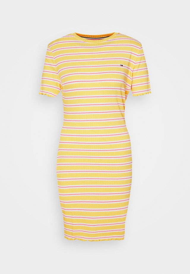 STRIPED TEE DRESS - Etui-jurk - star fruit yellow/white/multi