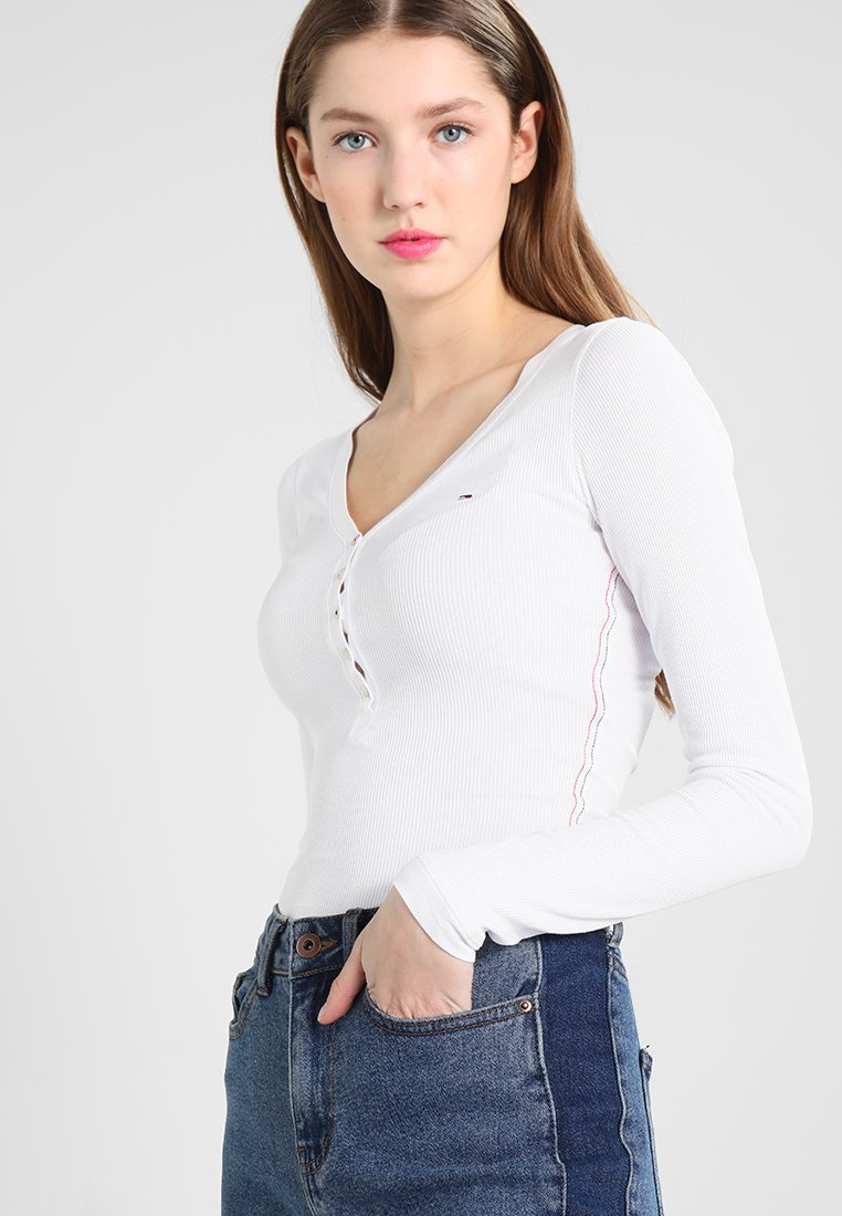 Tommy Jeans - ORIGINAL HENLEY - Langarmshirt - classic white