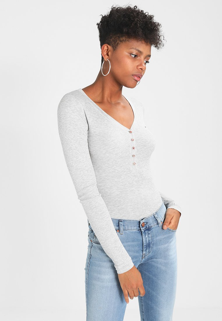 Tommy Jeans - ORIGINAL HENLEY - T-shirt à manches longues - light grey heathher