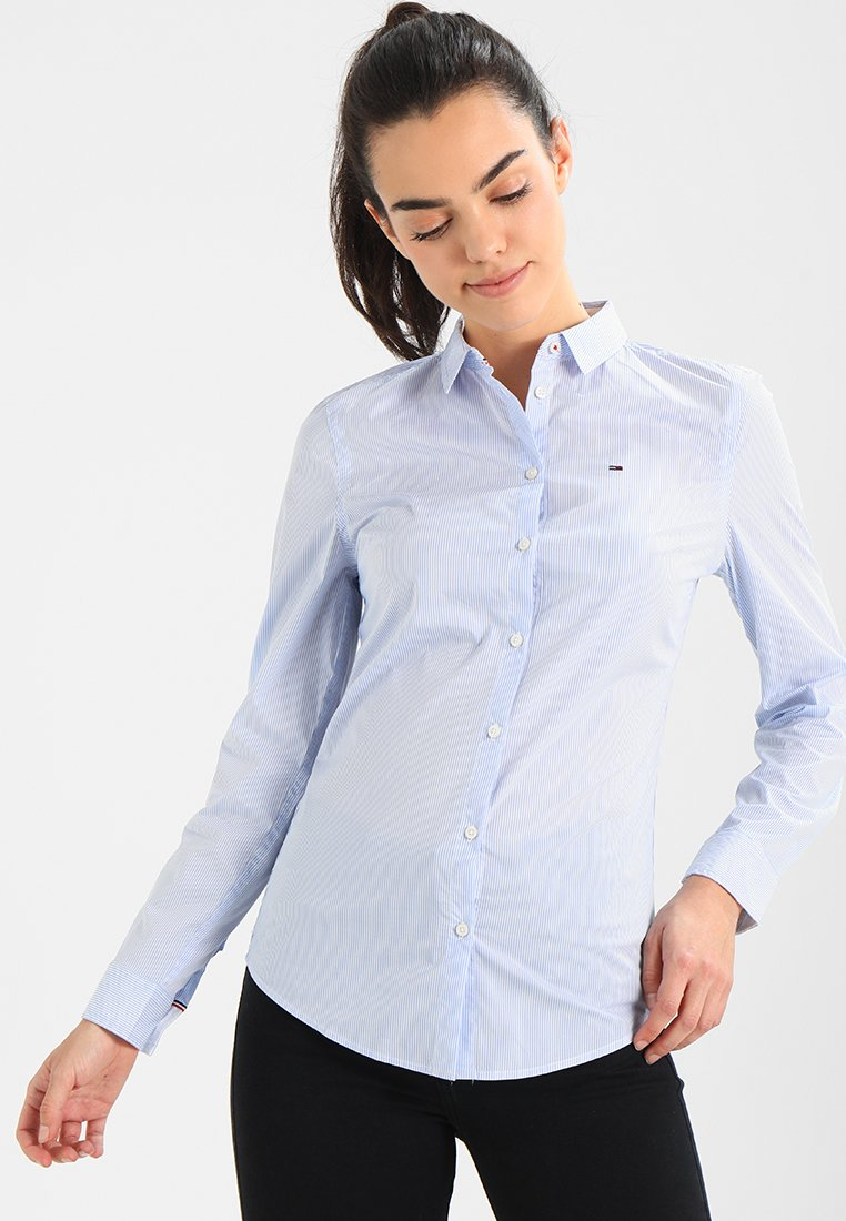 Tommy Jeans - ORIGINAL STRIPE STRETCH - Button-down blouse - serenity/bright white