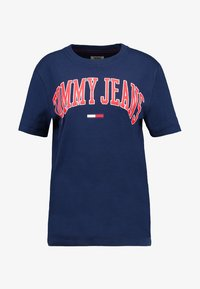 Tommy Jeans - COLLEGIATE LOGO TEE - T-shirts med print - black iris - 4