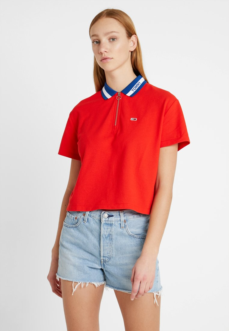 Tommy Jeans - BRANDED COLLAR  - Poloshirt - flame scarlet