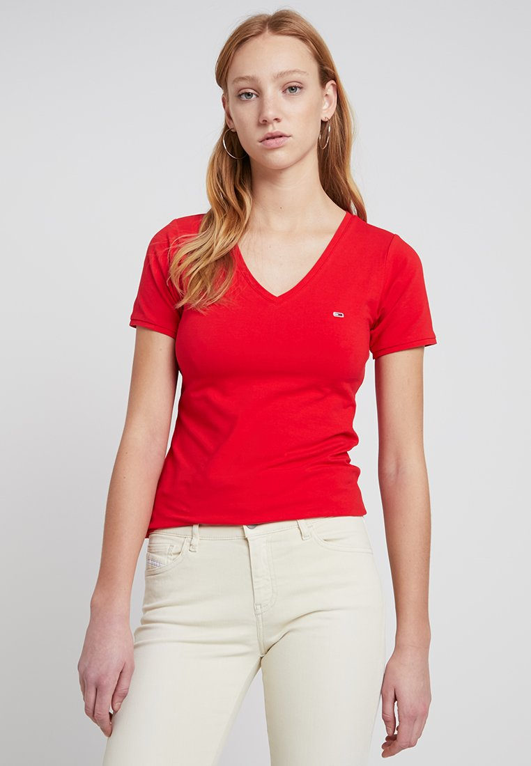Tommy Jeans - SHORTSLEEVE STRETCH TEE - T-shirts basic - flame scarlet
