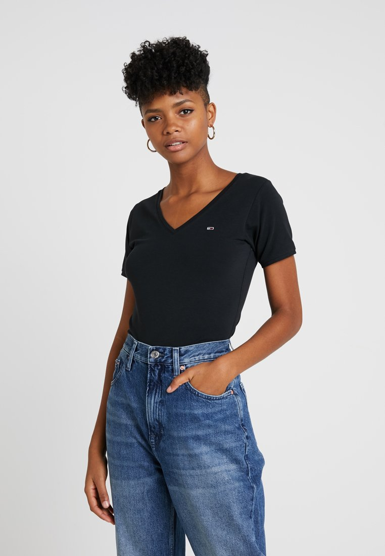 Tommy Jeans - SHORTSLEEVE STRETCH TEE - T-Shirt basic - tommy black