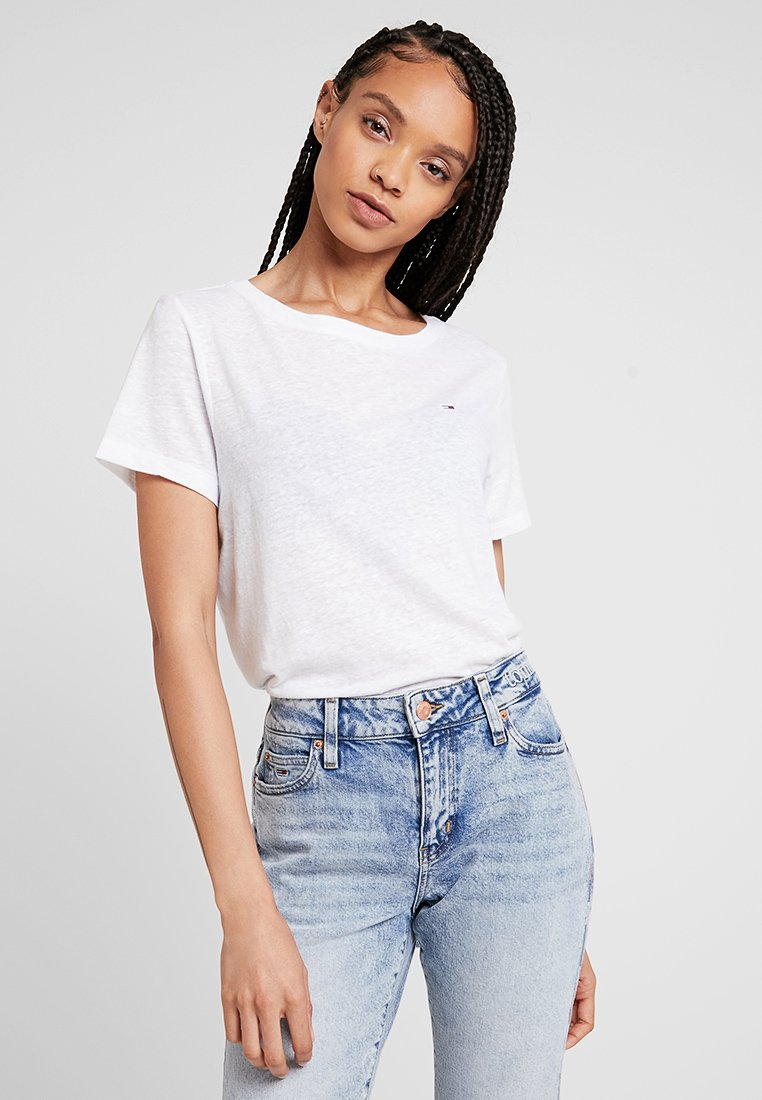 Tommy Jeans - SUMMER ESSENTIAL TEE - T-shirt - bas - classic white