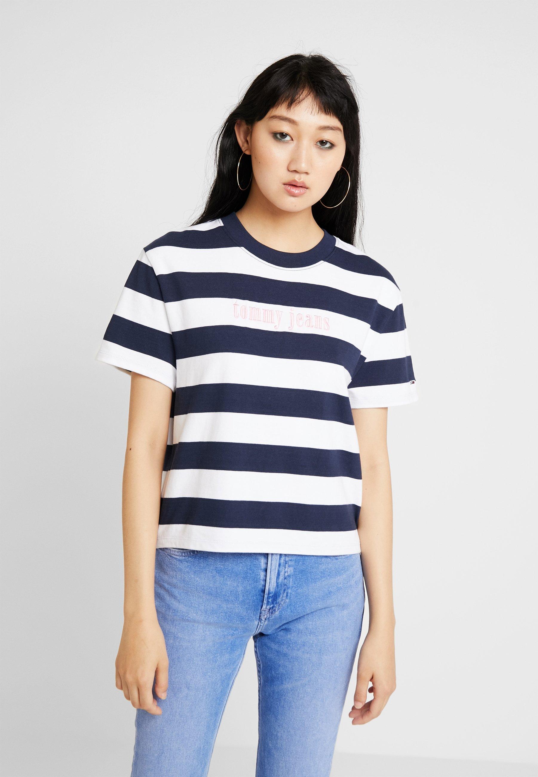 Tommy classic White shirt Black Imprimé Color Iris Stripe TeeT Jeans WHI29ED