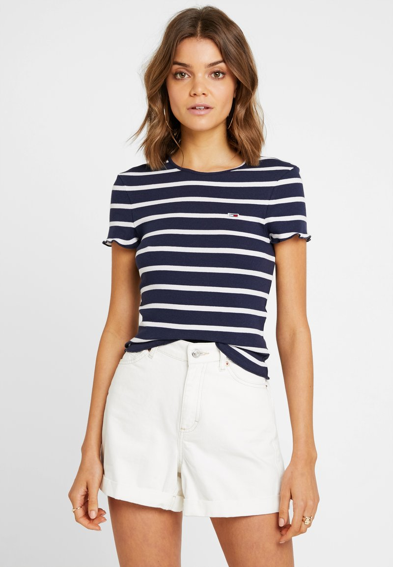 Tommy Jeans - STRIPED BABYLOCK TEE - T-shirt med print - black iris/classic white