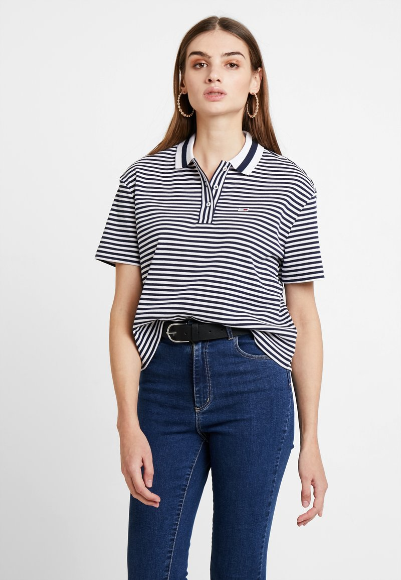 Tommy Jeans - STRIPED FLUID POLO - Poloshirt - black iris/classic white