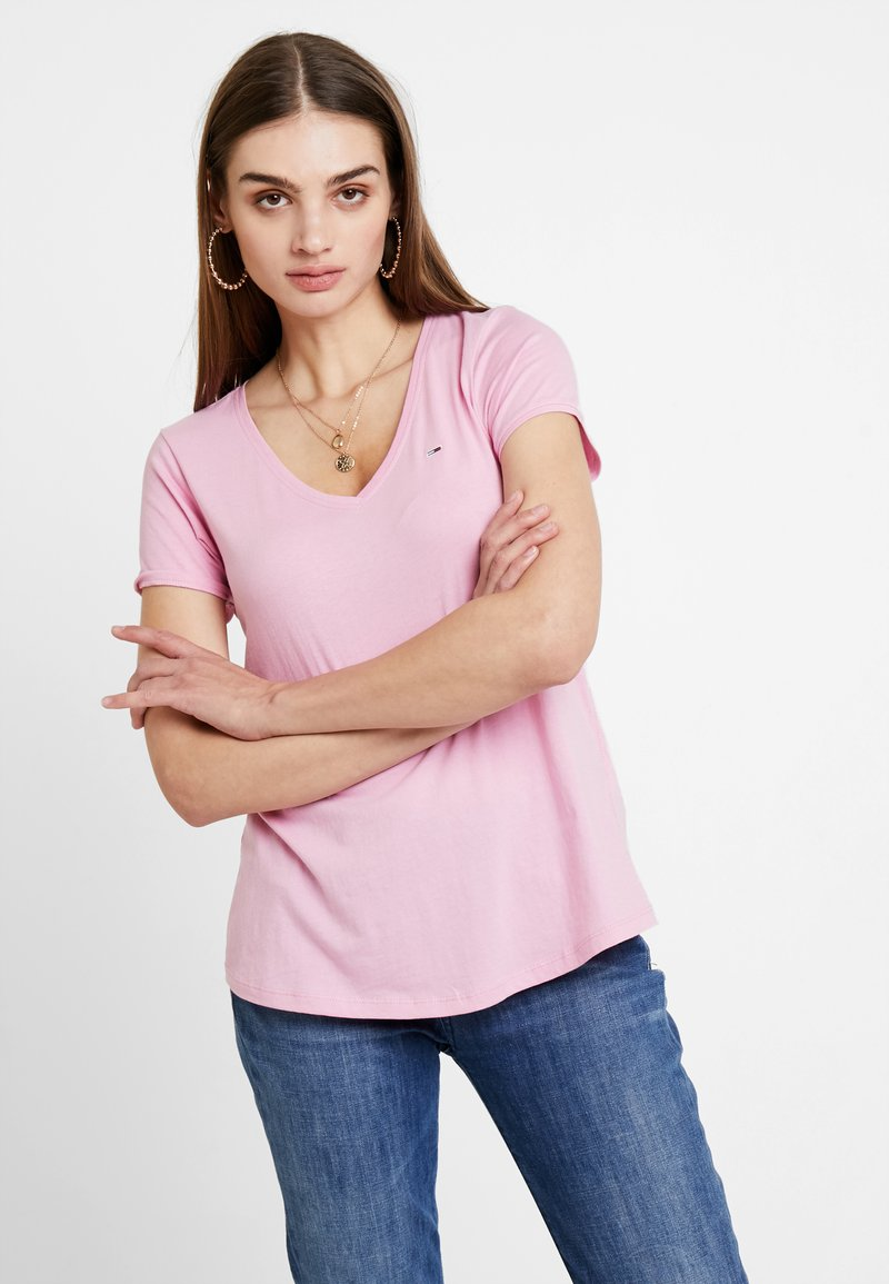 Tommy Jeans - SOFT V NECK TEE - T-shirt basic - pink