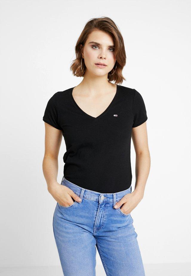 SOFT V NECK TEE - T-shirt - bas - tommy black