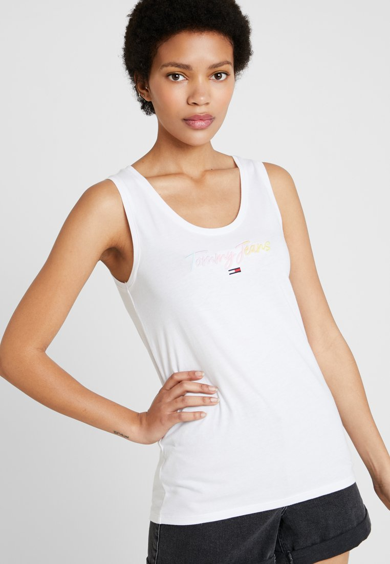 Tommy Jeans - SUMMER SCRIPT TANK - Top - classic white