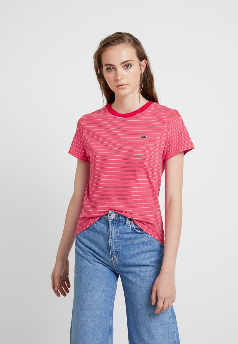 Tommy Jeans - ESSENTIAL STRIPE TEE - T-shirt con stampa - claret red