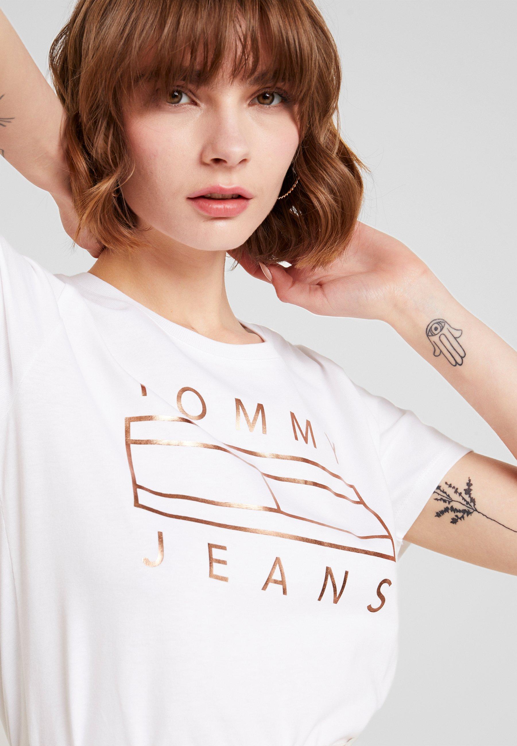 TeeT Tommy Logo White Imprimé shirt Jeans Classic Metallic mwn08vN