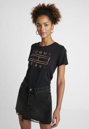 METALLIC LOGO TEE - T-shirt imprimé - black