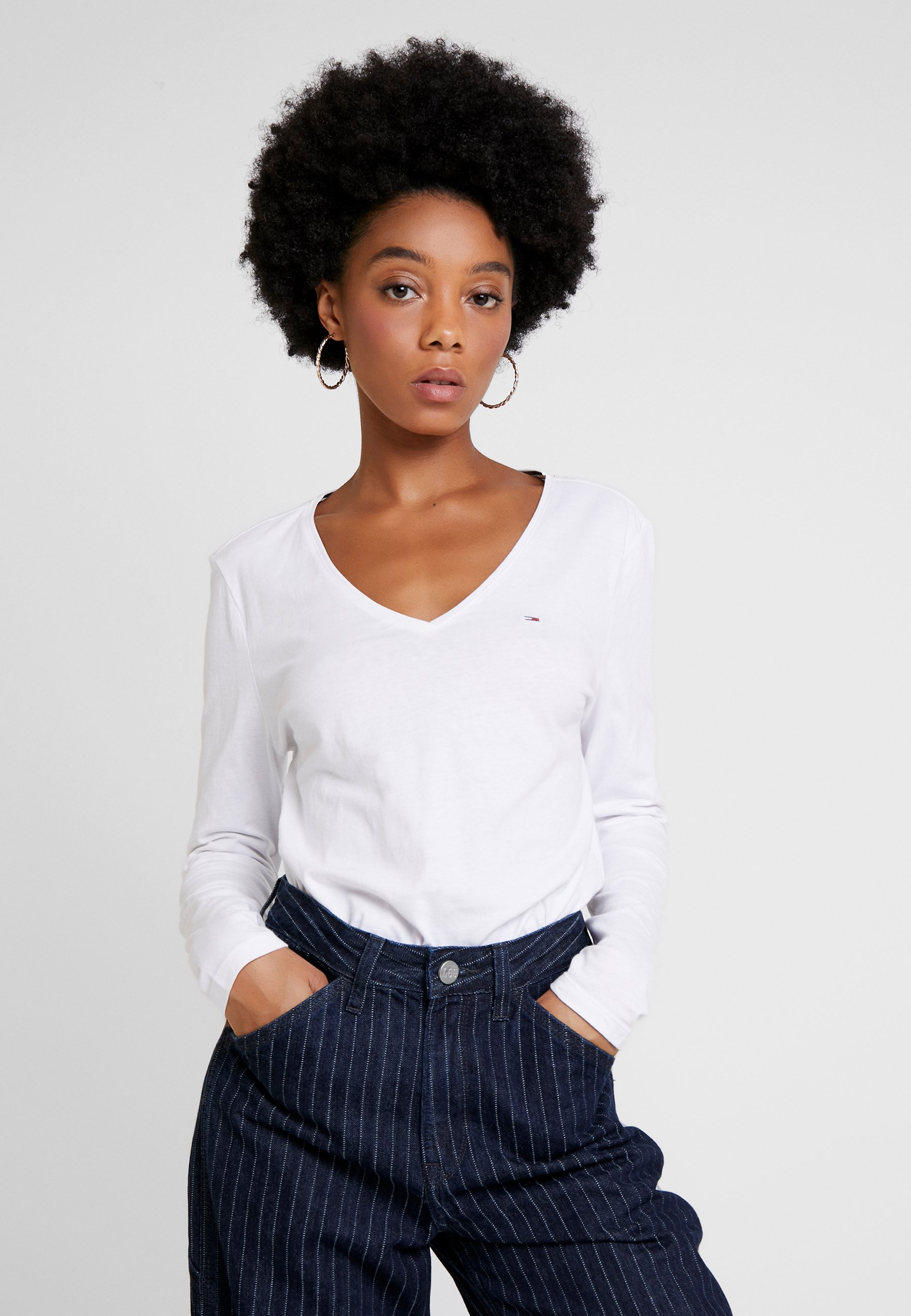 Classic Neck Jeans Soft shirt Longues Tommy White LongsleeveT V À Manches sdCQxtrh