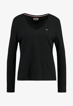 SOFT V NECK LONGSLEEVE - T-shirt à manches longues - black