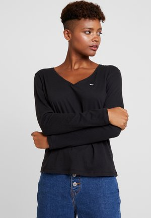 SOFT V NECK LONGSLEEVE - Long sleeved top - black