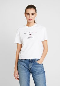 Tommy Jeans - SMALL LOGO TEXT TEE - Print T-shirt - classic white - 0