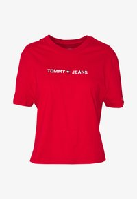 Tommy Jeans - LINEAR LOGO DETAIL TEE - T-shirt basique - racing red - 4