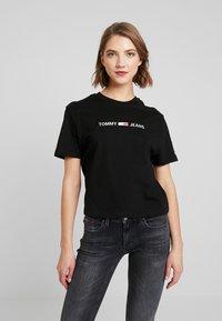Tommy Jeans - LINEAR LOGO DETAIL TEE - T-shirt basique - black - 0