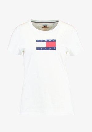 METALLIC LOGO TEE - Print T-shirt - white
