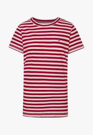TEXTURED STRIPE TEE - T-shirts med print - pink daisy/white