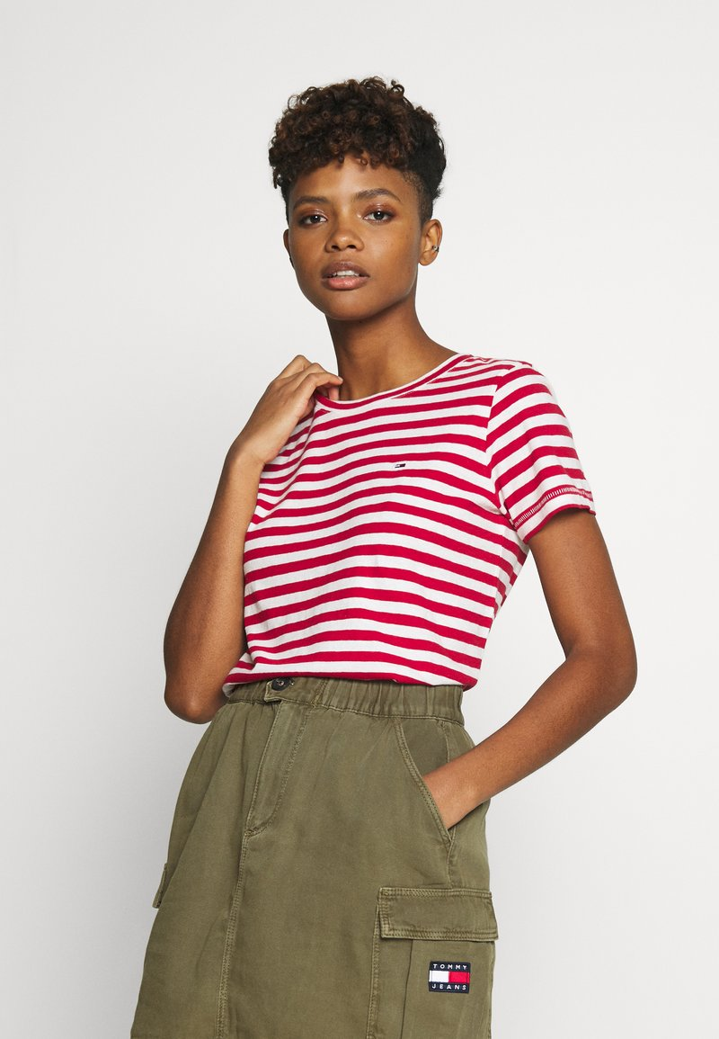 Tommy Jeans - TEXTURED STRIPE TEE - Print T-shirt - pink daisy/white