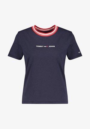 CONTRAST RIB LOGO TEE - T-shirt imprimé - marine