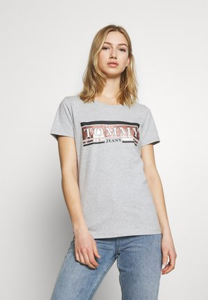 METALLIC LOGO TEE - Print T-shirt - grey