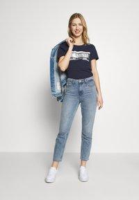 Tommy Jeans - METALLIC LOGO TEE - T-shirt print - twilight navy - 1