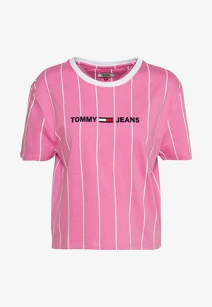 VERTICAL STRIPE LOGO TEE - T-shirts med print - pink daisy/white