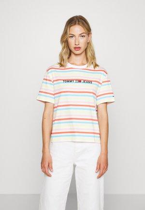 SUMMER STRIPE LOGO TEE - T-shirt imprimé - frozen lemon/multi