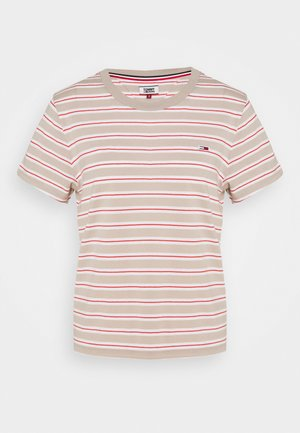 ESSENTIAL STRIPE TEE - Print T-shirt - soft beige/multi