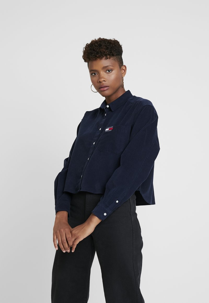 Tommy Jeans - TJW WASHED CORD SHIRT - Hemdbluse - black iris
