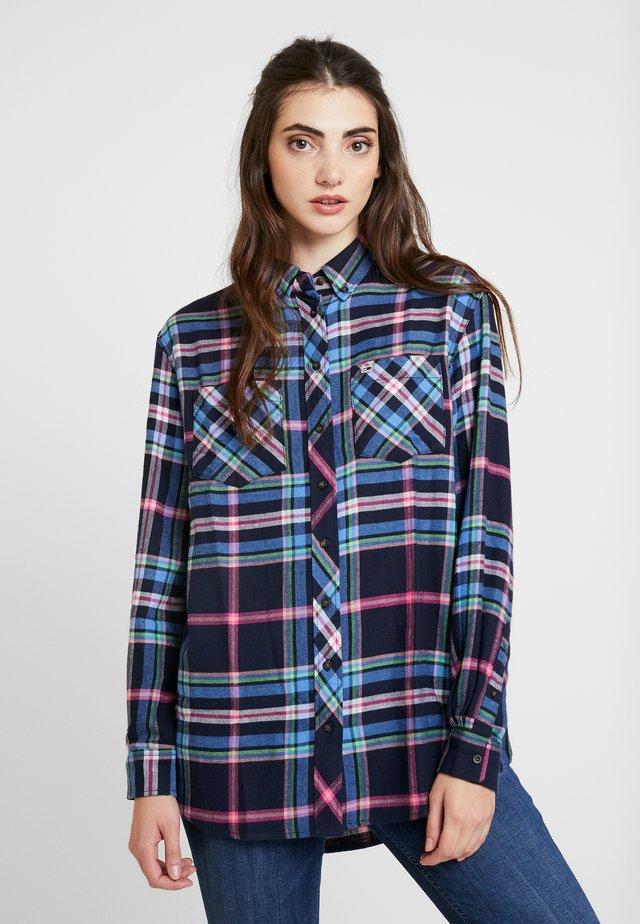 CHECK - Button-down blouse - mazarine blue