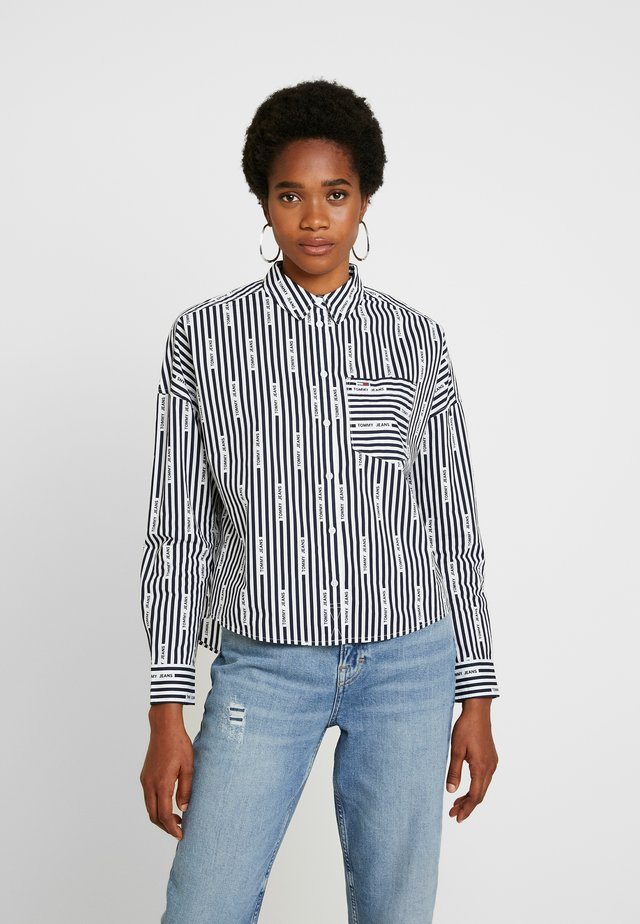 LOGO  - Button-down blouse - black iris/classic white