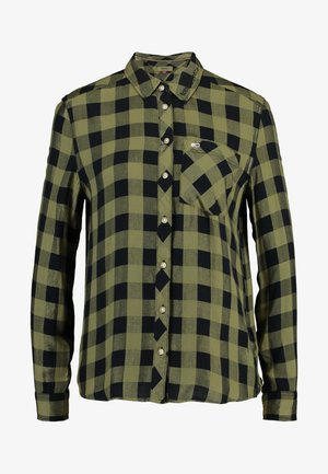 TJW SOFT CHECK  - Button-down blouse - martini olive/black