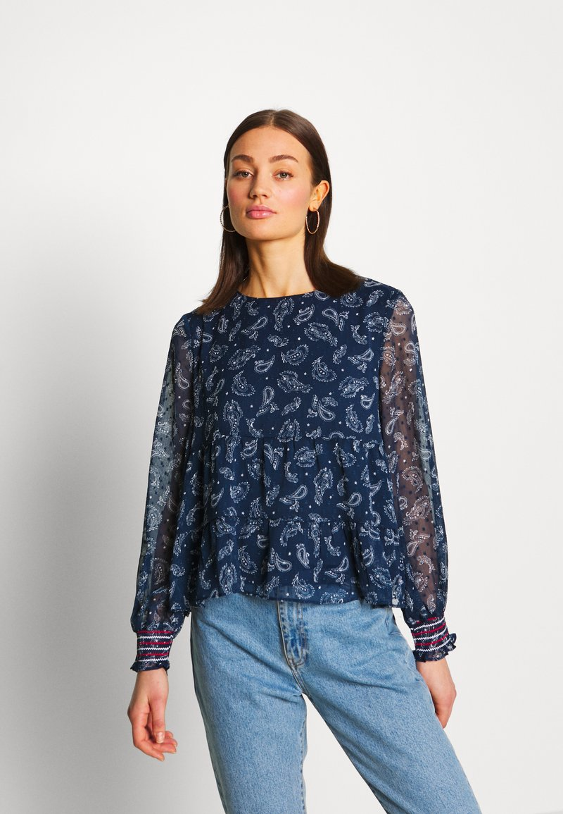 Tommy Jeans - SMOCK PRINT BLOUSE - Blůza - twilight navy