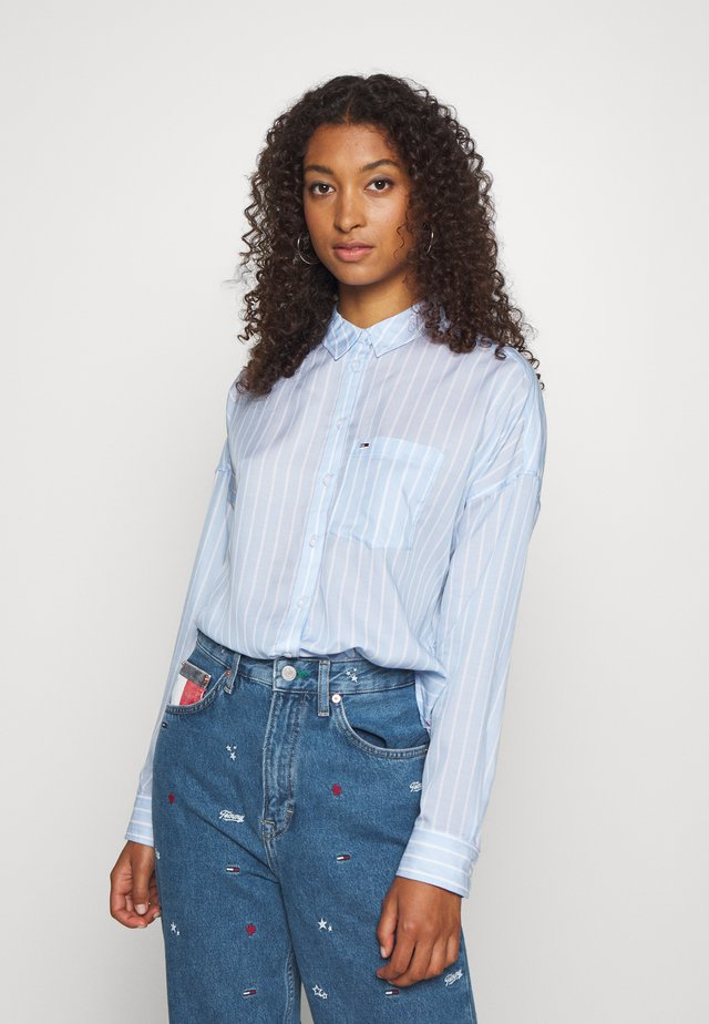 BOLD STRIPE - Button-down blouse - white/moderate blue